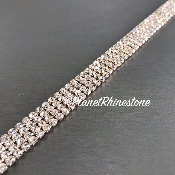 Rose Gold Simple Crystal Trim  #T-D