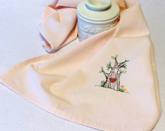 Cotton Hand Towel - Embroidered Towel- Tree Towel, Heart Towel, Valentine Towel