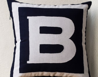 Personalized Pillow covers, Navy Blue Pillow, Monogrammed throw Pillows, Alphabet throw pillows, Cotton pillow covers, Mother's day gifts.
