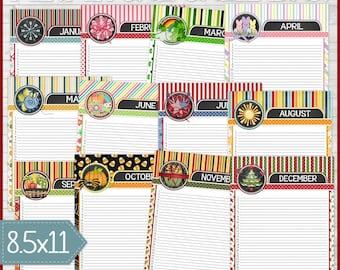 PRINTABLE Perpetual Calendar, Date Organizer, Perpetual Birthday Calendar, Desk Calendar, Annual, Perpetual Binder - INSTANT Download