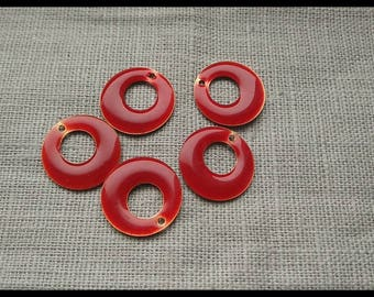 Set of 5 donuts 18 mm red enameled metal charms