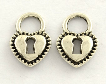 5 pieces Antique Silver Heart Lock Charms