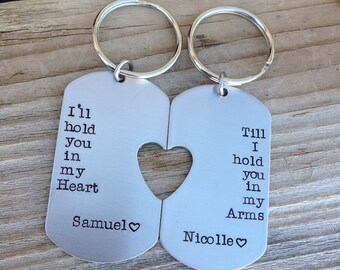 Custom military dog tag Long Distance Relationship hand stamped his and her set Ill hold you in my heart couples Keychains jewelry