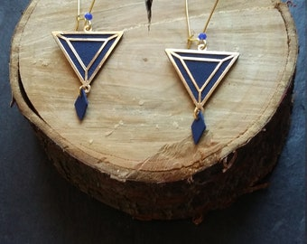 Augustine earrings - Navy blue leather