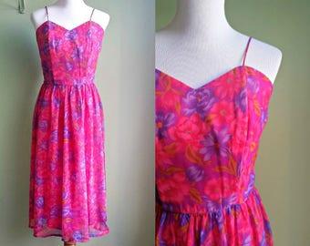 1950s Fuschia Floral Party Dress - Vintage 50s Dress - Large