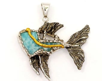 One of a Kind Sterling Silver Fish Pendant with Larimar
