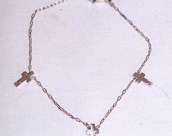 Child's Vintage Silver Tone Charm Bracelet with Three Tiny Crosses