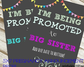 Big Sibling Announcement-Photography announcement- photo prop- chalkboard- sister or brother