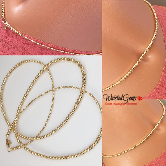 14k Gold Waist Beads, Wedding Gift, African Waist Beads, 14k Gold Bead Necklace, 14k Gold Belly Chain, Waist bead, Waisted Gems  zmw2311-93