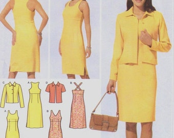 Womens Dress with Bodice Variations & Jacket Perfect for Spring Simplicity Sewing Pattern 4991 Size 6 8 10 12 Bust 30 1/2 to 34 UnCut
