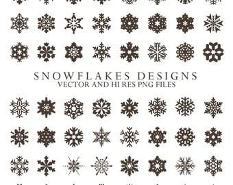 Snowflake Clipart - Christmas Clipart Snow Frost Clipart Clip Art PNG & Vector EPS, AI Design Elements Digital Instant Download