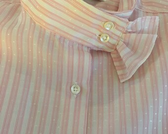Vintage 80's High Neck Striped Pink & White Blouse Pin stripes
