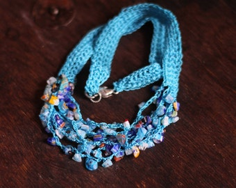 Crocheted Necklace with Gemstone Chips