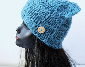 Chunky Cat Hat  - Blue Squares - Winter Fashion Accessory