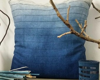Indigo Dip Dyed Decorative Pillow Cover