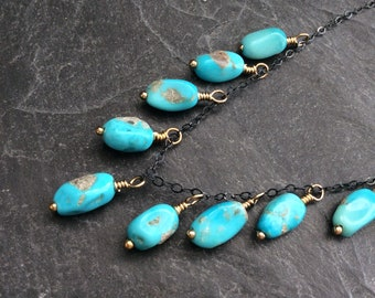Turquoise fringe necklace, mixed metal jewellery, delicate layering necklace, oxidised sterling necklace, gift for her