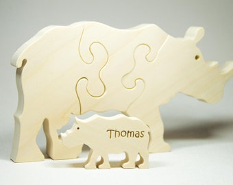Wood Puzzle, Safari Themed Puzzle, Wooden Rhinoceros Toy, Rhinoceros Puzzle, Rhinoceros Toy, Baby Shower Gift, Birthday Gift