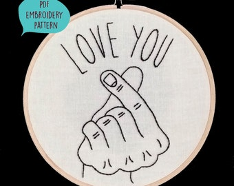 PDF embroidery pattern for Love You gesture by galemofre