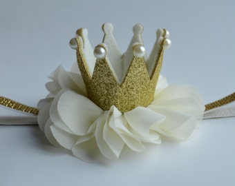 Gold Baby Crown Headband - Ivory Gold Crown - Birthday Crown Headband - Gold Glitter Crown - Ivory/Gold Princess Crown Headband