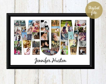 MOM birthday photo collage - Mom Birthday Gift - Personalized Mothers day gift - Mom Photo Gift - DIGITAL FILE!