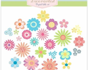 ON SALE Flowers clipart , Instant download, Digital clipart, flower powers