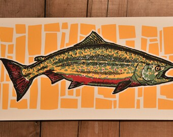 Brook Trout Handmade Screenprint