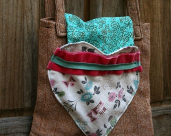 Tote Bag Small Vintage Fabric Brown Stripes Heart Turquoise Pink White OOAK