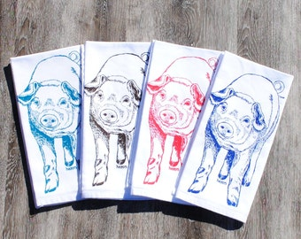 Dinner Napkins Set of 4 - Screen Printed Cotton Napkins - Red Blue Brown Teal Pig - Washable and Reusable