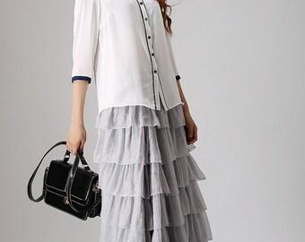 princess skirt, gray skirt, chiffon skirt, womens skirts, maxi skirt, tulle skirt, layered skirt, elastic waist skirt, boho skirt  (864)