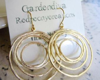Large Circle Earrings, Round Hoop, Gold Chandelier Earrings, Modern, Simple, Everyday Earrings, Redpeonycreations