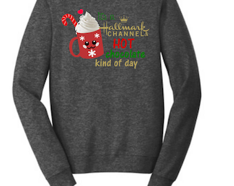 Hallmark Christmas Fleece Crew-Neck Sweatshirt, women's gift, Christmas shirt, ladies Christmas shirt, Christmas movies shirt, Holiday Tee
