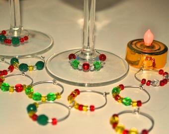 Christmas Glass Bead Wineglass Charms (Set of Six)
