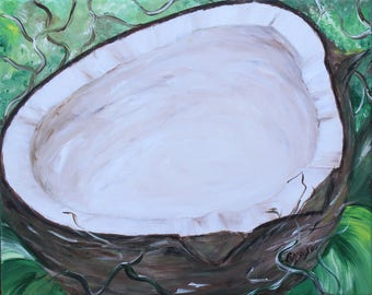 Coconut Original acrylic painting on canvas. ready to hang, wall decor