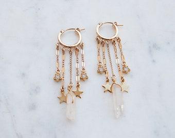All The Dangles Hoop Earrings, star earrings, shooting star earrings, crystal earrings, hoops, gold hoops, gypset, gypset jewelry