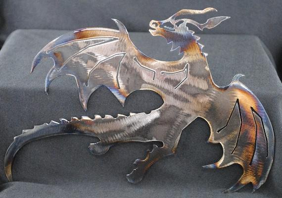Dragon, Flying Dragon, Metal Dragon Wall Art, Fantasy Metal Art, European Dragon, Western Dragon Metal Art, Teen Room Decor, Gift to Teen
