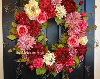 Mother's day gift spring wreaths for front door wreaths Mother's day wreaths red pink hydrangea wreaths floral gift front door decorations