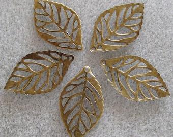 Tiny Antique Bronze Filigree Leaves 12mm x 24mm 532B