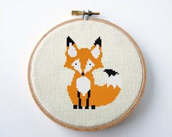 Fox Cross Stitch Pattern PDF Digital Needlepoint Instant Download Embroidery Chart