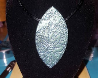 Lozenge polymer clay necklace.