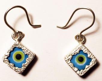 925 Women's Sterling Silver Earrings with Evil Eye Theme