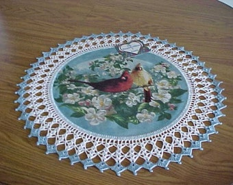 Crocheted Fabric Doily Cardinals in Apple Blossoms Fabric Center Crocheted Edge Centerpiece Doilies Table Topper