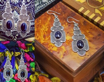 Filgree Fashion Earrings Silver 925 And Black ONYX Stone