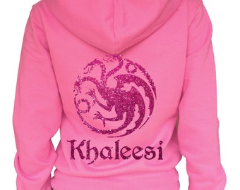 Game of Thrones Targaryen Khaleesi Ladies pink zoodie with glitter dragon.