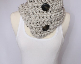 Oatmeal/ Cream Chunky Cowl with Buttons