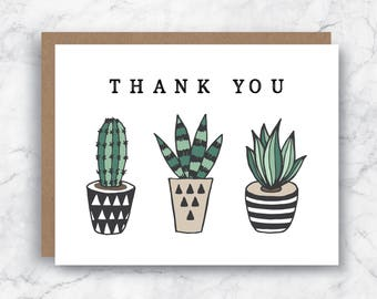 Thank You Card - Succulent Card - Plant Thank You Card - Succulent Thank  You Card - Masculine Thank You Card - Blank Thank You Card