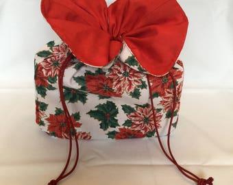 Drawstring Gift Bag/Red Poinsettia Gift Bag/Fabric Gift Bag with Self Bow/Christmas Gift Bag/Red Green & White Gift Bag/Storage Bag