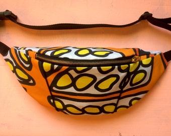 Handmade bright Orange print bumbag/fanny pack/ festival bag
