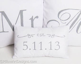 Mr and Mrs Pillow Covers Set with Mini Est Date Pillow Grey and White Hand Painted Made in Canada