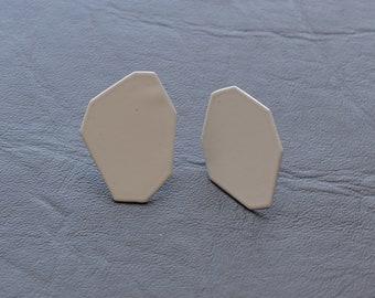 light gray, geometric polygon stud earrings, asymmetric, modernist style, geo forms, basic simple, everyday earrings, minimal jewelry