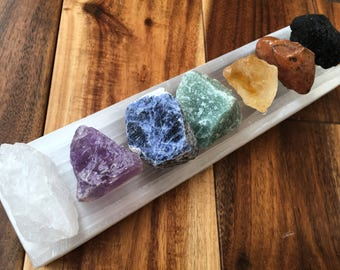 Raw crystal 7 chakra set with selenite plate - chakra set - chakra stones - chakra crystals - healing crystals and stones - seven chakras